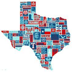 "Totally Texas 23"" x 23"" Screen Print"
