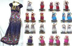 babydoll dress vtg thai retro HIPPIE BOHO art paint FLORAL tie dye polkadot dolly MAXI DRESS