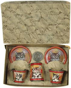 Early Tin Litho Coffee Set in Original Box
