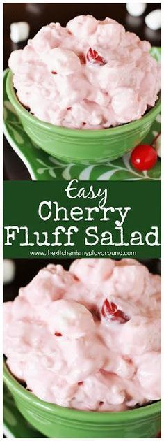 and easy Cherry Fluff Salad {made with cherry pie filling} ~ a beautifully delicious side or dessert salad. :Quick and easy Cherry Fluff Salad {made with cherry pie filling} ~ a beautifully delicious side or dessert salad. Dessert Salads, Fruit Salad Recipes, Dessert Recipes, Jello Salads, Creamy Fruit Salads, Fruit Appetizers, Fruit Salsa, Jello Recipes, Fruit Snacks