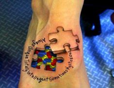 This three dimensional tat is awesome! Trevor this is for you!autism tattoo ideas   Autism puzzle piece tattoo designs on feet   Cool Tattoo Design Ideas