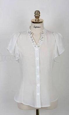 new and stylish Color: white. Petal Sleeve, Beaded Collar, White Beads, Shirt Sleeves, Tunic Tops, Carrera, Blouse, Slim, Stylish