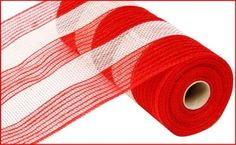 "10.5""X10yd Poly/Jute/Cotton Stripe Mesh  Red/White Material Content: POLYPROPYLENE/JUTE/COTTON"