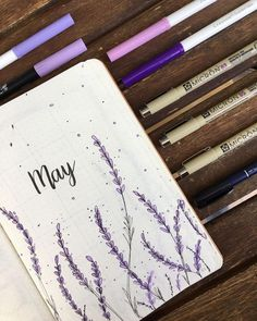 Bullet Journal Monthly Cover May Lavender Flowers Monthly Cover Monthly Overview L . - Bullet Journal Monthly Cover May Lavender Flowers Monthly Cover Monthly Overview Lavender Flowers - Bullet Journal School, Bullet Journal Inspo, Bullet Journal Lettering Ideas, Bullet Journal Notebook, Bullet Journal Aesthetic, Bullet Journal Spread, Bullet Journal Ideas Pages, Bullet Journals, Bullet Journal Overview