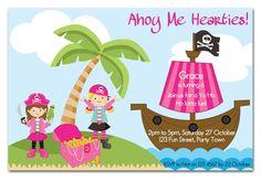 Pirate Girl Themed Birthday Party Invitation Qty 10. $20.00, via Etsy.