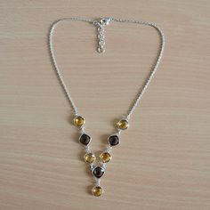 Xmas 30% discount for purchase more then $20  coupon code --  DEVCC12 Classic Design Necklace GarnetCitrine Gemstone by DevmuktiJewels