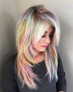 blonde and pastel rainbow hair with Pravana :: RedBloom Salon