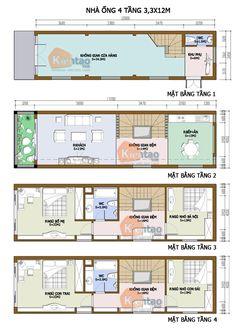 Thiết kế kiến trúc, Nhà ống 4 tầng 4,4x14m, Cách phân bổ công năng nhà ống 4 tầng, nhà đẹp