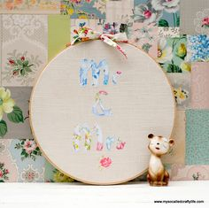DIY Vintage Fabric Patchy Personalized Hoop Art | My So Called Crafty Life