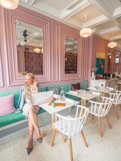 Restaurant Interior Design, Shop Interior Design, Cafe Design, Pink Restaurant, Station Restaurant, Instagram Wall, Instagram Worthy, Colorful Cafe, Pink Salon