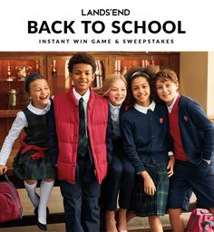 Play the Back to School Sweepstakes game for your chance to win a $25 or $50 Lands' End eGift Card. Plus be entered into the grand prize drawing for a 128GB iPad® Pro™ & Lands' End Digital ClassMate® Backpack, $500 Lands' End eGift Card & $500 cash. The sweepstakes ends August 31st.