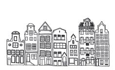 Drawings of buildings in a row :: simple black and white line illustrations | design & form - DIY and interior blog