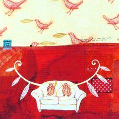 MIXED MEDIA PRINT - You are Safe - mixed media painting reproduction red aqua mint blue heart art. $22.00, via Etsy.