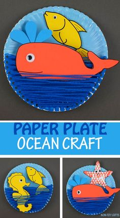 Paper plate ocean craft for kids. Printable template available for the ocean / sea animals : fish, whale, star fish, seahorse. Great yarn and paper plate summer craft for preschoolers and older kids #oceancraft #oceananimals #paperplatecraft #summercraftkids