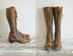 antique leather boots / 1930s lace up leather by simplicityisbliss, $485.00