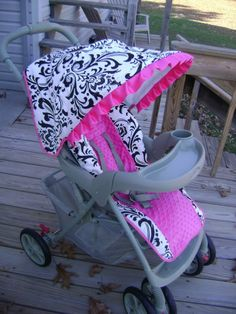 Custom Boutique Stroller Seat Cover and Canopy by smallsproutsbaby, $149.00