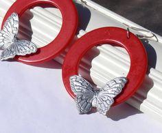 Red Hoop Butterfly Earrings Silver Butterfly Dangle by LovelyFleur, $13.00