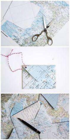 DIY Briefumschläge aus alten Landkarten selber machen