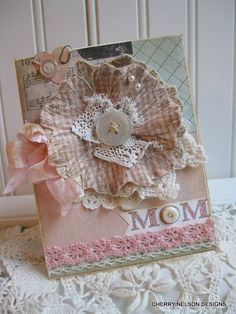 shabby mothers day card LARGE FABRIC DAISY