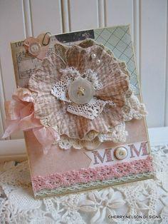 shabby mothers day card LARGE FABRIC DAISY by cherrysjubileecards, $7.50