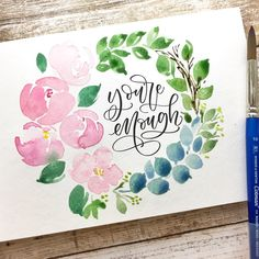 I love this font/lettering Watercolor Journal, Watercolor Lettering, Watercolor Cards, Watercolour Painting, Watercolor Flowers, Painting & Drawing, Watercolors, Calligraphy Letters, Modern Calligraphy