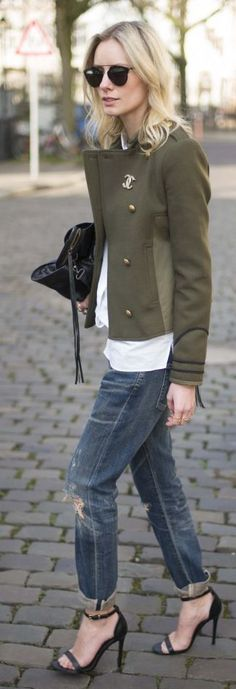 Chanel Olive Jacket with Ripped Denim and High Heels | Classic Street chic
