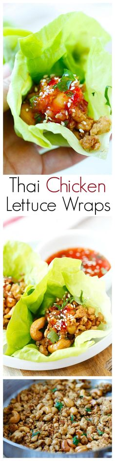 Thai Chicken Lettuce Wraps – easy, healthy and delicious chicken wraps with Thai sweet chili sauce. Quick and easy dinner recipe. Thai Chicken Lettuce Wraps, Easy Lettuce Wraps, Fingers Food, Asian Recipes, Healthy Recipes, Healthy Foods, Healthy Wraps, Veggie Recipes, Delicious Recipes