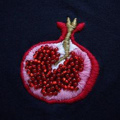 ∙ Hand-Perlen/bestickt Granatapfel-Design mit anchor(cotton) Faden und sicher … ∙ hand-beaded / embroidered pomegranate design with anchor (cotton) thread and sewn securely (no dye) glass. Diy Embroidery Shirt, Hand Embroidery Stitches, Hand Embroidery Designs, Beaded Embroidery, Cross Stitch Embroidery, Embroidery Patches, Embroidery Ideas, Machine Embroidery, Embroidered Shirts