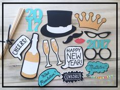 Are you having a New Years Eve party at the office, at home or at school? Let me help you create some fun photographs with my glitter New Years Eve photo props. These party props would be the perfect addition to your party pictures. Not only can you use these New Years Eve decorations as photo props, imagine how wonderful they would look as centerpieces! You could put cameras on every table and people could take the props right out of the centerpieces to make some fun pictures!  This set…
