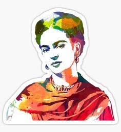 Frida Kahlo watercolour portrait Pegatina