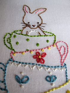 bunny and teacups! embroidery