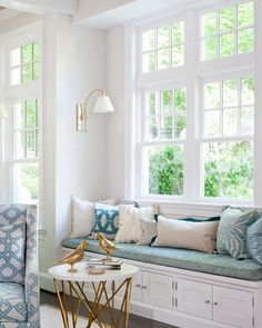 Window Seat Bench with Round Brass Accent Table - Transitional - Living Room Living Room Lighting, Living Room Decor, Dining Room, Home Design, Interior Design, Design Ideas, Design Interiors, Design Design, Modern Design