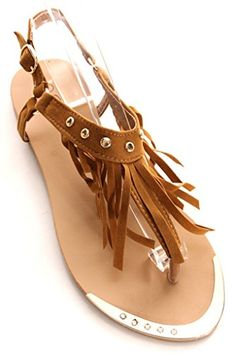 6b323804d Forever Link SUEDE MATERIAL BUCKLE STRAP FRINGE TSHAPE STYLE CASUAL SANDALS  85 tan    Continue to the product at the image link.(This is an Amazon  affiliate ...