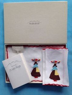 Marghab Flower Woman Cocktail Napkins Hand Embroidered New Box Tag Vintage Linen