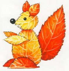 Creative Ideas on Leaf Art - DIY Tutorials Collect the leaves of all shapes around you, they are the gifts from God. Check out these super cute animals you can make with them – pictured above. Autumn Leaves Craft, Autumn Crafts, Fall Crafts For Kids, Nature Crafts, Art For Kids, Summer Crafts, Leaf Projects, Art Projects, Leaf Animals