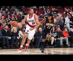 Nicolas Batum of the Portland Trail Blazers handles the ball against the Indiana Pacers