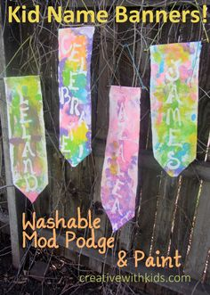 Name Banners -  The Mod Podge Washout acts as a paint resist and washes away leaving your design showing through the paint on the fabric.  #sponsored #plaidkidscrafts