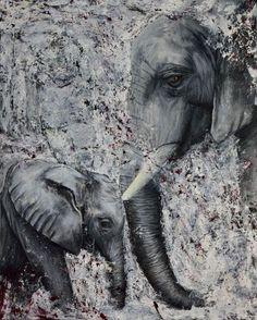 """Acrylbild, """"Verschwindende Elefanten"""""""