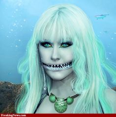 Celebrities with Shark Mouths Mermaid Book, Shark Mouth, Creature Picture, Sea Siren, Fx Makeup, Halloween Cosplay, Sea Creatures, Halloween Face Makeup, Costume