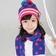 Dot Baby Hats Scarf Kids Pocket Hats Girl Scarf Shawl Child Muffler Earflap Caps  Baby Warmer 8017a3e85ddf