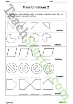 Transformation Poster and Worksheets