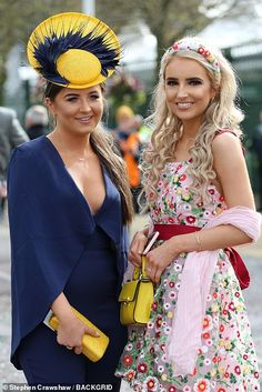 Aintree Festival 2019 Day Glamorous guests get out their best glad rags for Ladies Day Girls Football Boots, Bright Dress, Monochrome Outfit, Boucle Jacket, Millinery Hats, Figure Skating Dresses, Facinator Hats, Fascinators, Headpieces