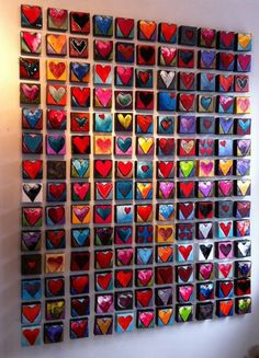 Find Inspiration With Valentines  Wall Art And Gift Ideas-homesthetics.  ***love in many colors.  If you haven't the patience to hang many small paintings, grid a large canvass