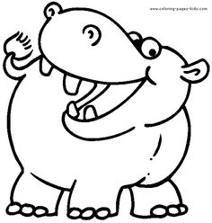 Happy Hippo Wild animal coloring page Hippopotamus Coloring page