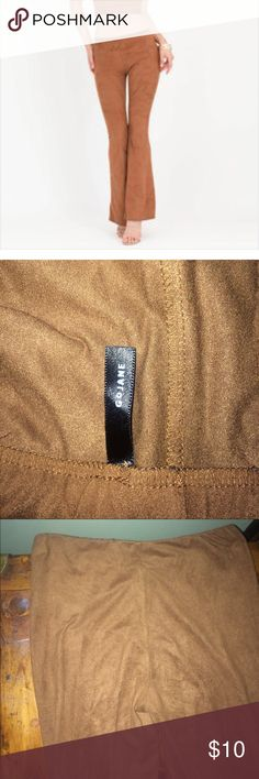 Gojane faux suede tan flare 70's vibe pants small This is for a sexy pair of tan faux suede flare pants size small. Worn only once and in excellent condition. Stretchy, fitted and flared. gojane Pants Boot Cut & Flare