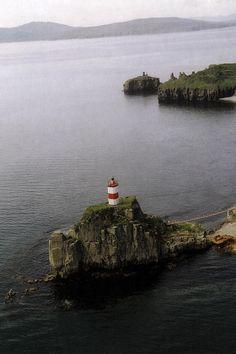 Lighthouse on Basargin Cape, Vladivostok, Russia