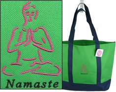 Namaste Day Tote  Free Name Monogram by RKEmbroideryBoutique