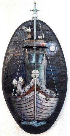 Beach Scene Painting, Nautical Art, Unique Wall Decor, Beach Scenes, Pallet Furniture, Fishing Boats, Natural Materials, Wood Art, Greece