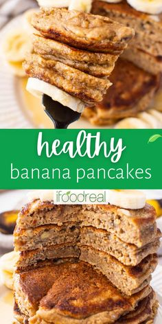 These quick and easy Healthy Banana Pancakes are stripped of the bad stuff and loaded with the good stuff including sweet bananas and whole wheat flour. Banana Pancakes, Pancakes And Waffles, Delicious Breakfast Recipes, Brunch Recipes, Healthy Brunch, Healthy Breakfasts, High Fiber Breakfast, Low Calorie Recipes, Real Food Recipes