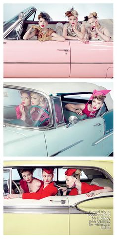 A roadtrip to sophistication on a candy tone Cadillac for whimsical ladies.  #Roadtrip #Road #Trip #Cadilac #Vintage #Classic #Retro #Rockabilly #Friends #Girl #Pinup #Pin #up #Ups #Women #Pink #Blue #Color #Colour #Match #Red #Hair #Makeup